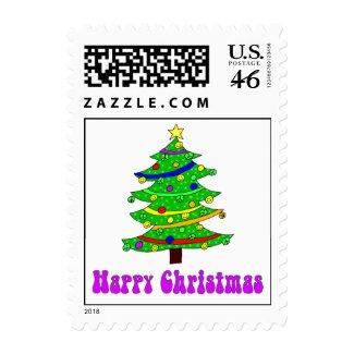 Hippie's Happy Christmas Tree Postage Stamp