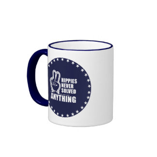Hippies never solved anything  (white) ringer coffee mug