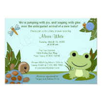 "Hippity Frog Baby Shower Invitation turtle snail 5"" X 7"" Invitation Card"