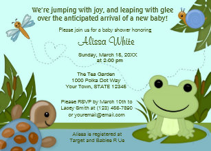Hippity Frog Baby Shower Invitation Turtle Snail