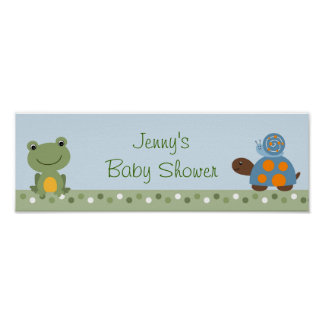 Hippity Frog Turtle Baby Shower Banner Sign