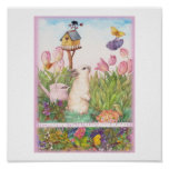 HIPPITY HOPPITY EASTER BUNNY BIRDHOUSE GREETING POSTER