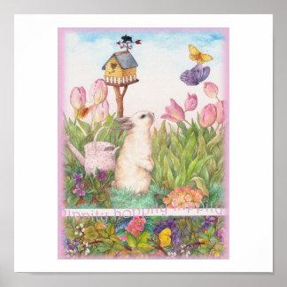 Hippity Hoppity Easter Bunny Birdhouse Poster
