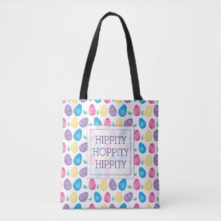 Hippity Hoppity Watercolor Easter Egg Pattern Tote Bag
