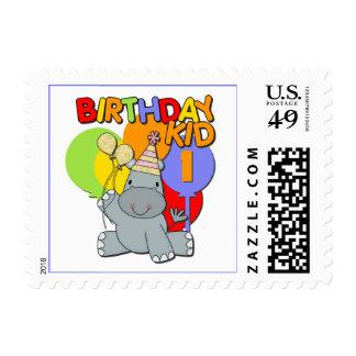Hippo 1st Birthday Stamps