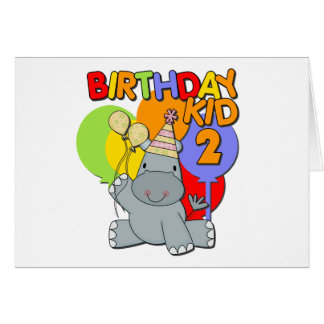 Hippo 2nd Birthday Card