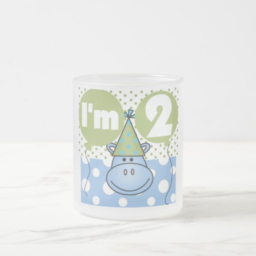 Hippo 2nd Birthday Tshirts and Gifts 10 Oz Frosted Glass Coffee Mug