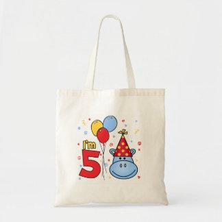 Hippo 5th Birthday Budget Tote Bag