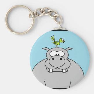 Hippo and Bird Basic Round Button Keychain
