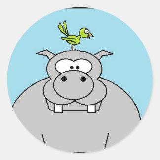 Hippo and Bird Classic Round Sticker