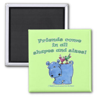 Hippo and Bird Friends 2 Inch Square Magnet