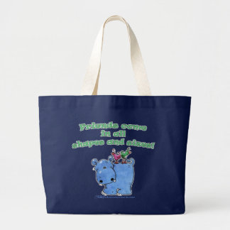 Hippo and Bird Friends Jumbo Tote Bag