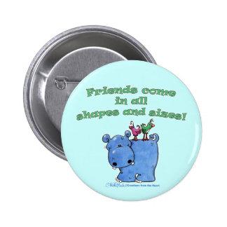 Hippo and Bird Friends Buttons