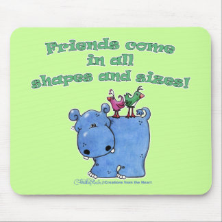 Hippo and Bird Friends Mouse Pad