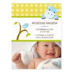 Hippo and Birdie Baby Boy Birth Announcement Postcards