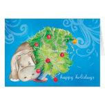 Hippo and Christmas tree tumble Greeting Card