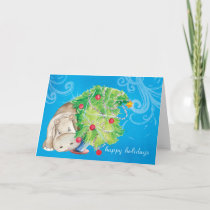 Hippo and Christmas tree tumble Holiday Card