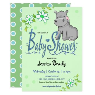 Hippo and Flowers Blue Faux Glitter Baby Shower Invitation