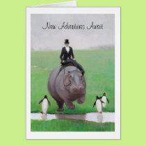 Hippo and Penguins Retirement Card
