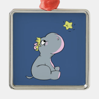 Hippo and Star! Metal Ornament