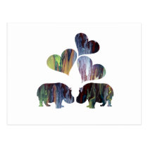Hippo Art Postcard