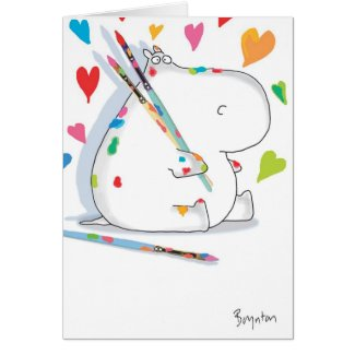 HIPPO ARTIST Valentines by Boynton Greeting Card