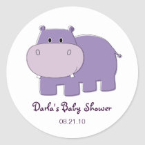 Hippo Baby Shower Stickers