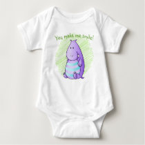 Hippo Baby Themed Gifts | Cute Jungle Animals Baby Bodysuit