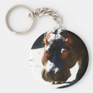 Hippo Basic Round Button Keychain