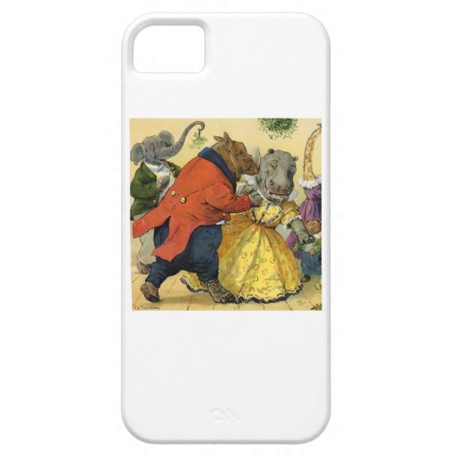 Hippo & Bear at the Christmas Ball in Animal Land iPhone 5 Cover