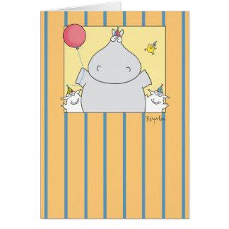 HIPPO BIRDIE 2000 GREETING CARD