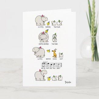 HIPPO BIRDIE zazzle_card