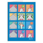HIPPO BIRDIE FACES GREETING CARDS