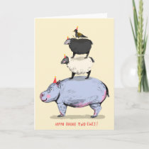 Hippo, Birdie, Two Ewes! Birthday Card