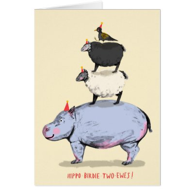 Hippo birdie card zazzle bookmarktalkfo Image collections