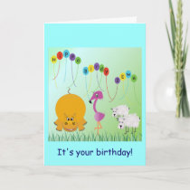 Hippo, Birdy, 2 Ewe Birthday Card