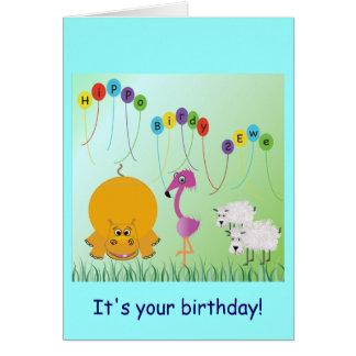 Hippo, Birdy, 2 Ewe Birthday Card