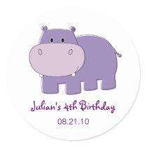 Hippo Birthday Cupcake Topper Stickers