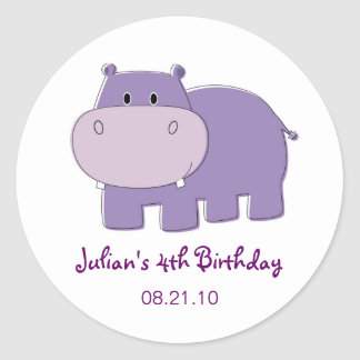 Hippo Birthday Cupcake Topper Stickers