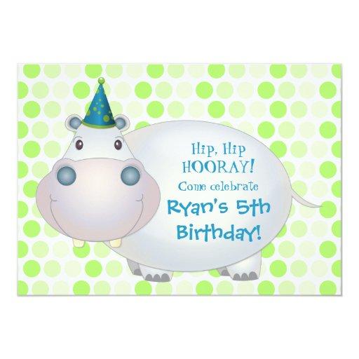 """Hippo Birthday Party Invitation 5"""" X 7"""" Invitation Card"""