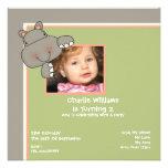 Hippo Birthday Party Personalized Invite