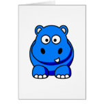 Hippo Blue Greeting Cards
