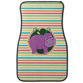 Hippo; Bright Rainbow Stripes Car Mat