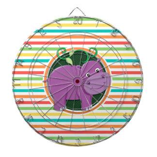 Hippo; Bright Rainbow Stripes Dartboard