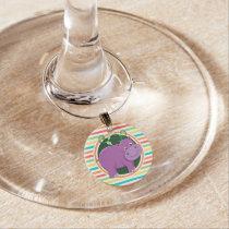 Hippo; Bright Rainbow Stripes Wine Glass Charm