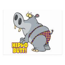 hippo butt bikini hippopotamus postcard