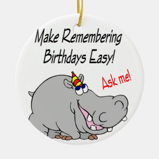 Hippo Card Double-Sided Ceramic Round Christmas Ornament