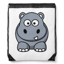 Hippo Cartoon Art Drawstring Bag