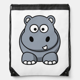 Hippo Cartoon Art Drawstring Bag