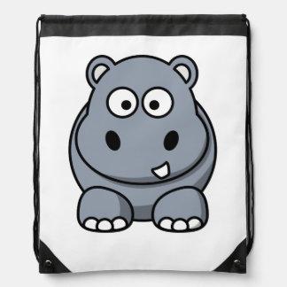Hippo Cartoon Art Drawstring Backpack